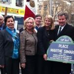 11 mars 2011, inauguration de la place Marthe Simard à Paris avec les élus de l'AFE et le Délégué général du Québec Michel Robitaille