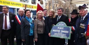 Inauguration de la place Marthe Simard à Paris avec les élus de l'AFE et le Délégué général du Québec Michel Robitaille - 11 mars 2011