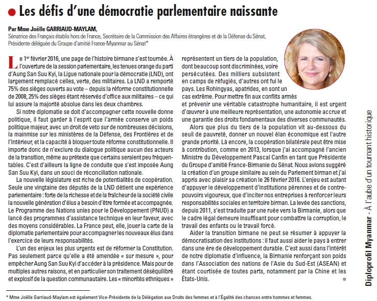 Télécharger ma tribune publiée dans le Dossier spécial consacré au Myanmar et au développement des relations franco-myanmariennes dans l'édition N°113 de La Lettre Diplomatique