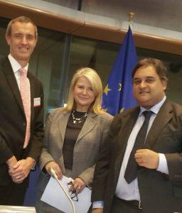 Avec le président de la commission Libertés civiles, Justice et Affaires Intérieures du Parlement européen Claude Moraes et le Directeur d'Europol Rob Wainwright