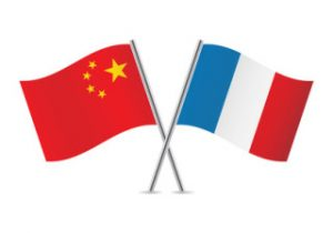 Chinese and French flags. Vector illustration.
