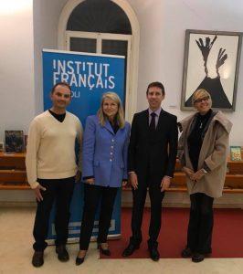 Naples_avec le directeur de l'école Alexandre Dumas, le Consul général et la présidente de l'AFNIS.