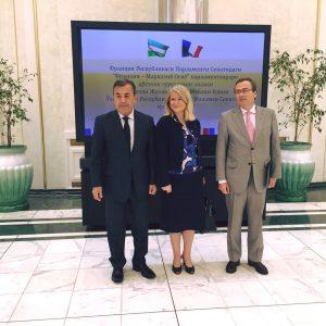 Au Sénat d'Ouzbékistan, avec le président de sa commission des affaires étrangères et l'ambassadeur Jacques-Henry Heuls