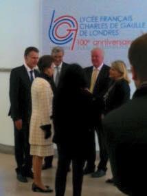Avec la Princesse Anne, le Proviseur Olivier Rauch, l'ambassadeur de Belgique au R-U, le député et ancien élève du Lycée Sir Edward Leigh, et l'Ambassadrice Sylvie Bermann